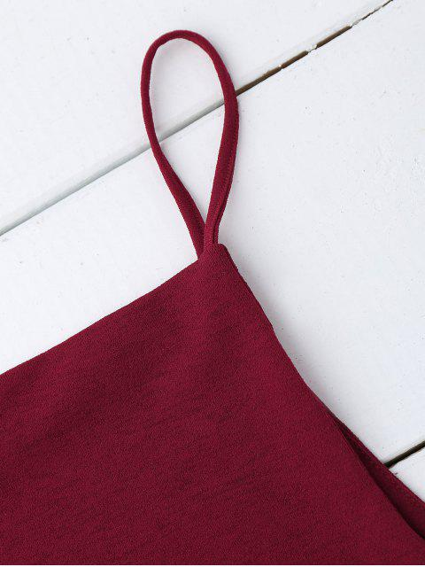 shop Cropped Dropped Armhole Cami Top - WINE RED S Mobile
