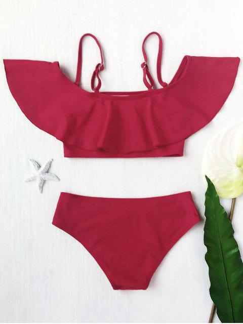 trendy Layered Off The Shoulder Girls Bikini Set - BURGUNDY 7T Mobile