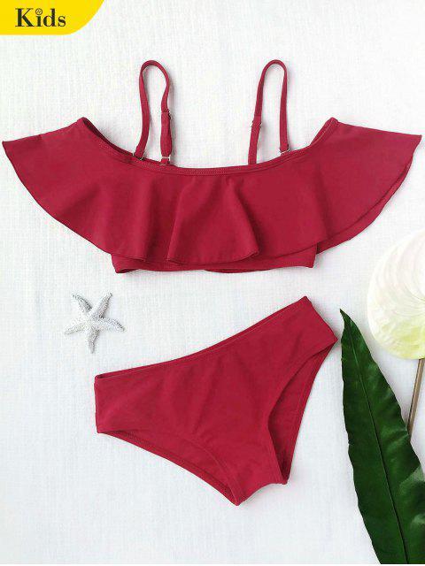 fashion Layered Off The Shoulder Girls Bikini Set - BURGUNDY 8T Mobile