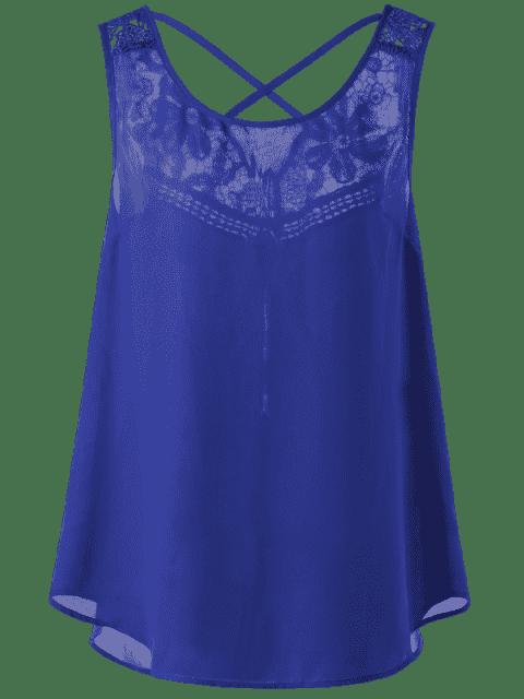 sale Lace Trim Plus Size Lattice High Low Tank - BLUE 3XL Mobile