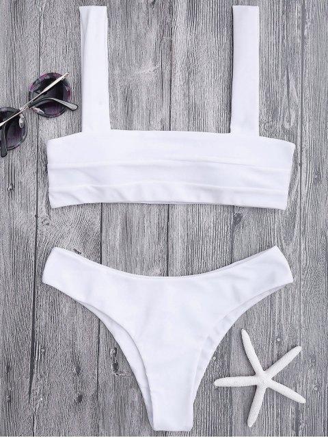 shop Bandeau Padded Bikini Top and Bottoms - WHITE L Mobile