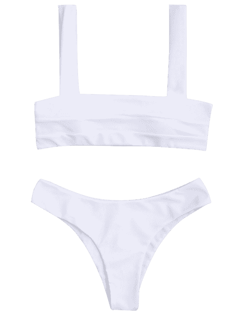shops Bandeau Padded Bikini Top and Bottoms - WHITE M Mobile
