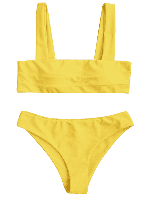 fancy Bandeau Padded Bikini Top and Bottoms - YELLOW L Mobile