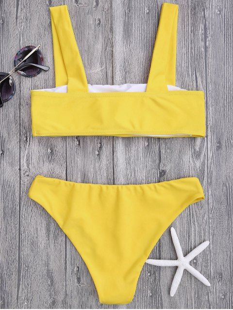 unique Bandeau Padded Bikini Top and Bottoms - YELLOW M Mobile