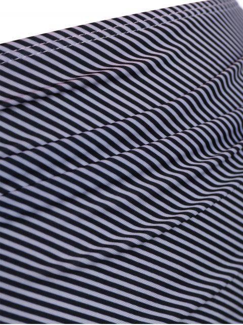 best Plus Size Padded Stripe Flounce Bikini Bathing Suit - ORANGEPINK 2XL Mobile