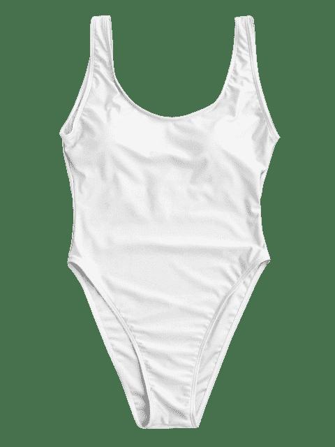 Maillot de bain dos nu avec découpe haute - Blanc L Mobile