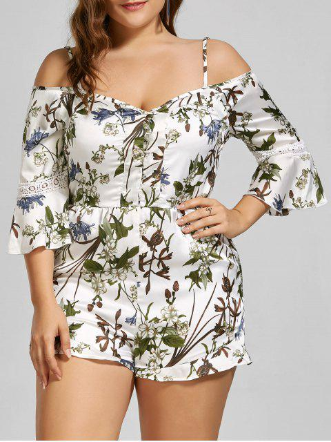 chic Floral Spaghetti Strap Cold Shoulder Plus Size Romper - WHITE 2XL Mobile