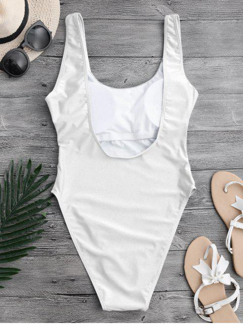 latest High Cut Backless Swimsuit - WHITE M Mobile