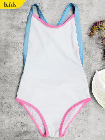 Open Back Tricolor Girls One Piece Swimwear - White 6t