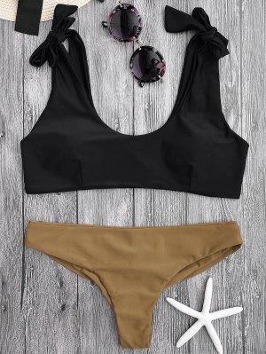 Tie Shoulder Padded Scoop Bikini Set - Black M