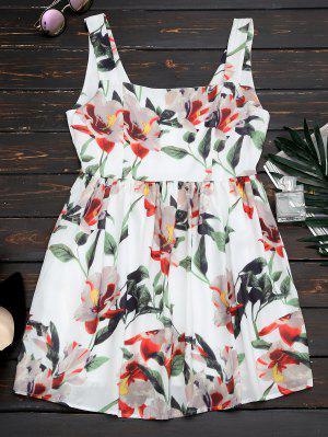 Back Zipper Straps Floral Mini Dress - Floral S