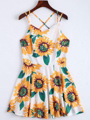 Sunflower Print Open Back Cami Sundress - White Xl