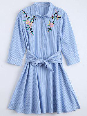 Tied Floral Embroidered Striped Shirt Dress - Blue L