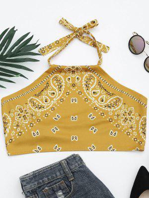Top De Costura Con Cuello Halter Impreso - Amarillo Xl