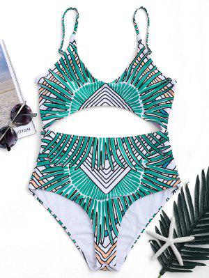 Tribal Cut Out Padded One-piece Swimsuit - Green 2xl