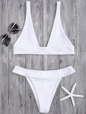 Zaful Plunge Bikini with High Cut