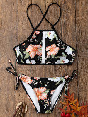Floral Print Backless Crop Top Bikini Set - M