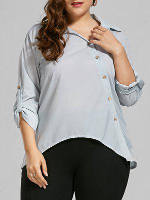Button Up Long Sleeve Plus Size Shirt - Light Grey 5xl