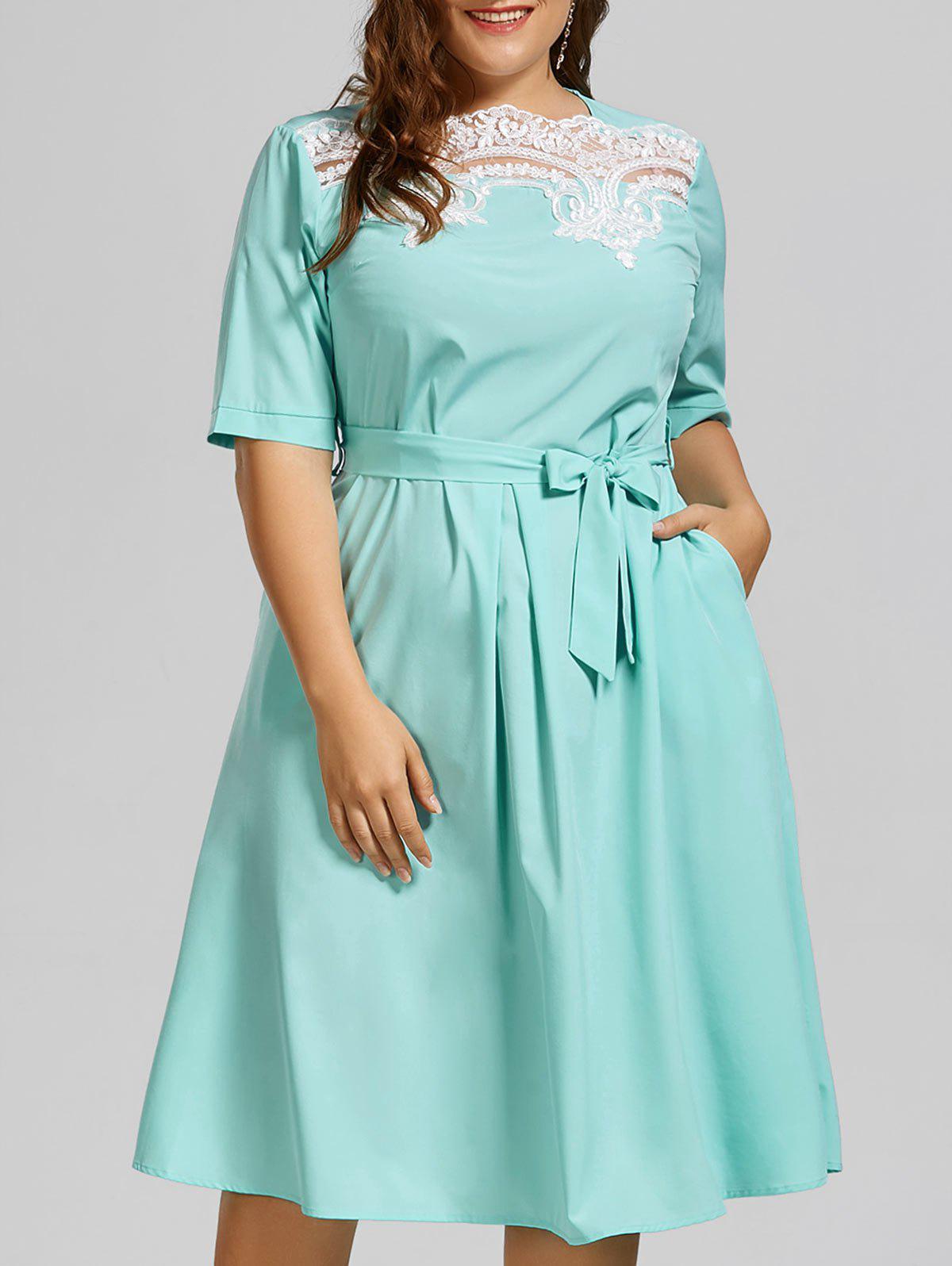 Plus Size Lace Panel Midi Modest Dress