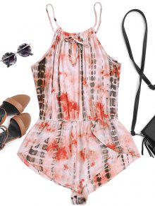 High Neck Layered Tie Dyed Romper - Multicolor S
