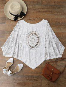 Irregular Hem Scoop Crochet Cover Up - White