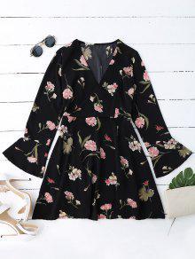 Robe Surplise à Manches Cloche Florales - Noir L