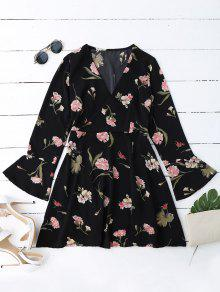 Floral Bell Sleeve Surplice Dress - Black Xl