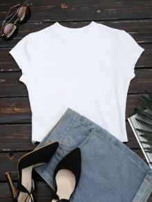 Ruffled Cropped Ribbed Top - White S
