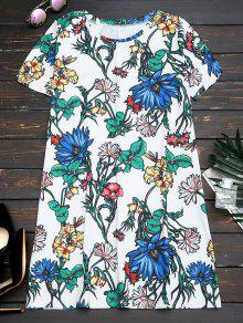 Short Sleeve Floral Straight Mini Dress - Floral S