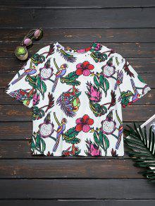 Oversized Bird Floral Top - Floral M