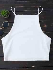 Cropped Dropped Armhole Cami Top - White S