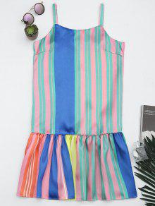 Colorful Stripes Ruffles Casual Dress - Stripe M