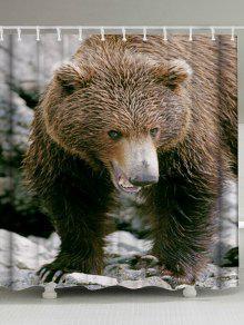الدب نسيج الحيوان دش الستار حمام ديكور - بنى W71inch*l71inch