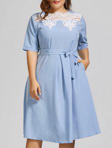 زائد حجم الدانتيل لوحة ميدي فستان متواضع - وندسور الأزرق 4xl