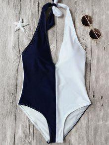 Color Block Halterneck One Piece Swimsuit - Blue And White L