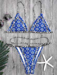 Floral Print Tanga String Bikini Set - Blue S