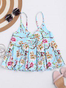 Top Camisole Imprimé Floral à Ourlet Plissé  - Azur Xl