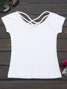 Criss Cross Ribbed Knitted Tee - White M