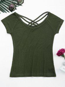 Criss Cross Ribbed Knitted Tee - Army Green S