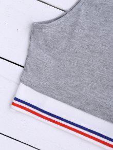 Cropped Striped Tank Gris S Top 4ATS7