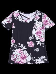 Negro Impresi L Del De Camiseta 243;n Cuello V De La Criss Cruzada 164qTqnxF