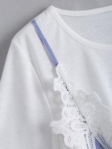243;n Faux Blanco Sistema Cord Gemelo Xl Del Rayada Camiseta Del Del Del Del Panel F4wf4qBP
