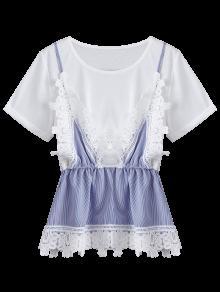 Del Cord Faux Rayada Panel Del Sistema Del Gemelo Xl Del Del Camiseta 243;n Blanco AxgnwHXSqg
