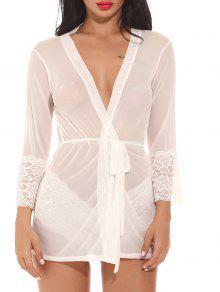 شبكة انظر من خلال ملابس النوم وتتسابق - أبيض L