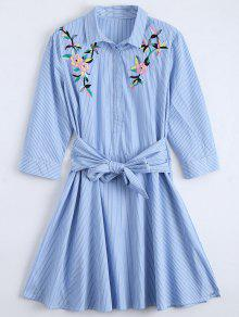 Buy Tied Floral Embroidered Striped Shirt Dress - BLUE S