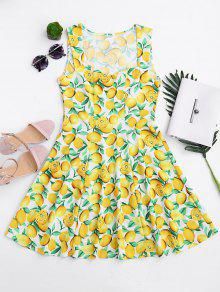 Lemon Print Sleeveless Sweetheart Dress - Yellow Xl