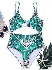 Tribal Cut Out Padded One-piece Swimsuit - Green L