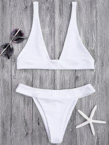 Plunge Bikini Top And High Cut Bottoms - White M