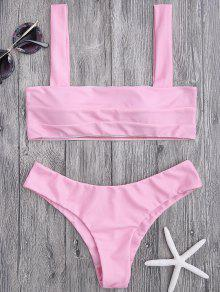 Bandeau Padded Bikini Top And Bottoms - Pink M
