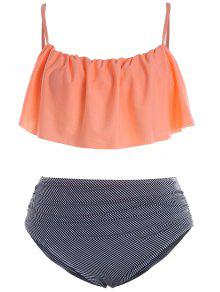 Plus Size Padded Stripe Flounce Bikini Bathing Suit - Orangepink 3xl